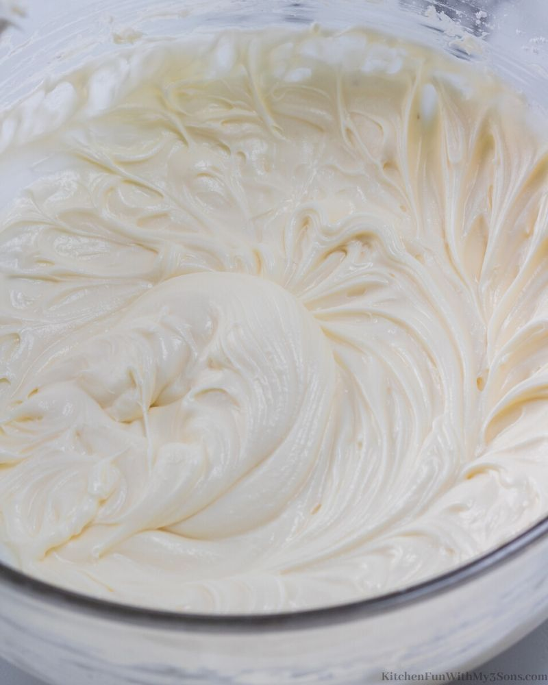 cream cheese frosting in a bowl