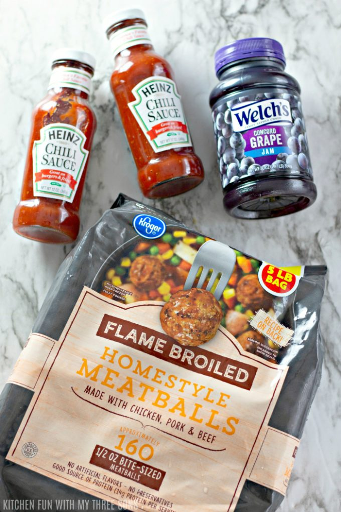 Heinz Chili Sauce and Welch's Grape Jelly with ready to cook meatballs