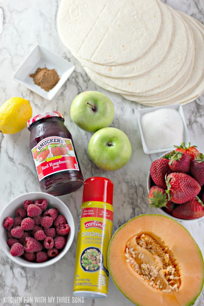 ingredients to make Fruit Salsa with Cinnamon Tortilla Chips