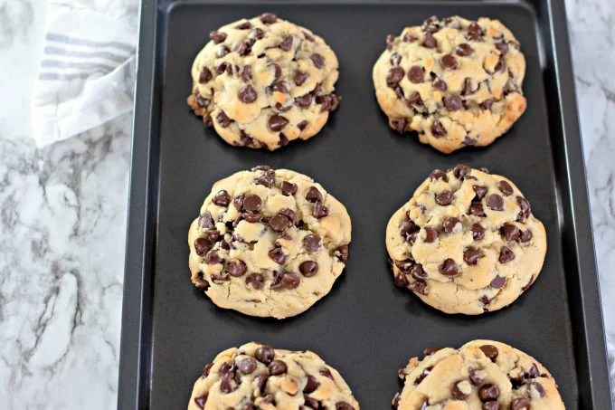 Giant Thick Chocolate Chip Cookies on cookie sheet