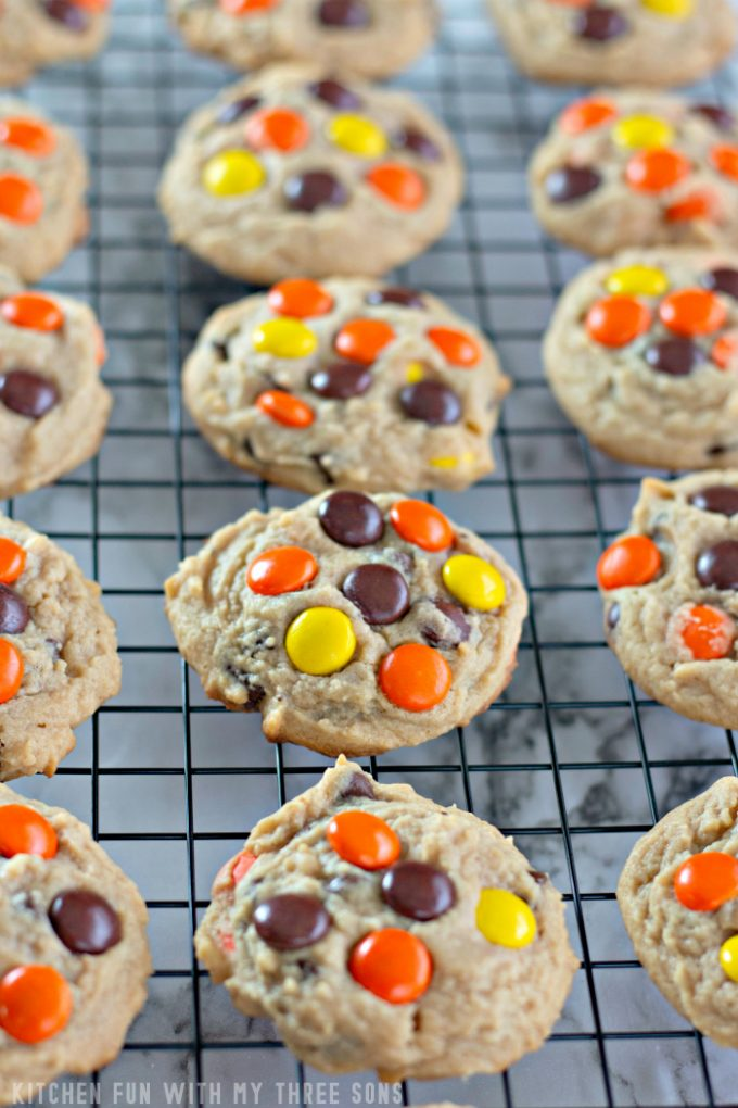 Reese's Pieces Peanut Butter Cookies on a cooling rack