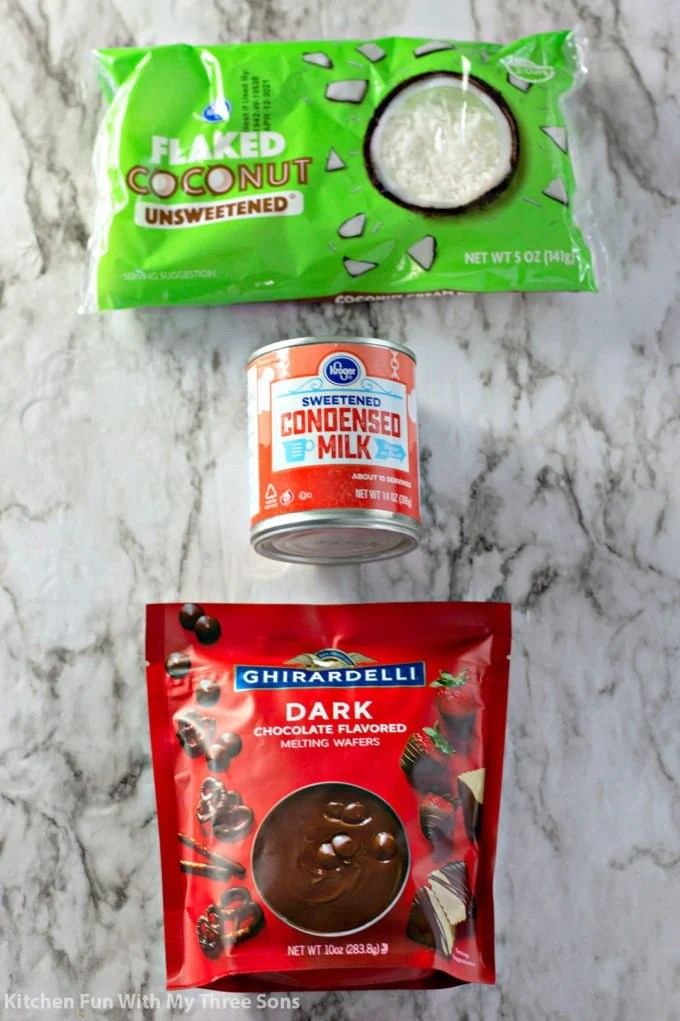 ingredients to make 3 Ingredient Coconut Mounds Bars