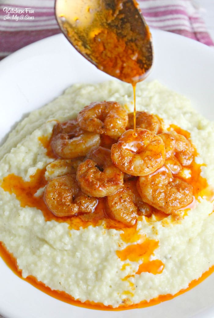 Cajun Shrimp and Grits is a simple recipe with buttery homemade grits with spicy seasoned shrimp on top.