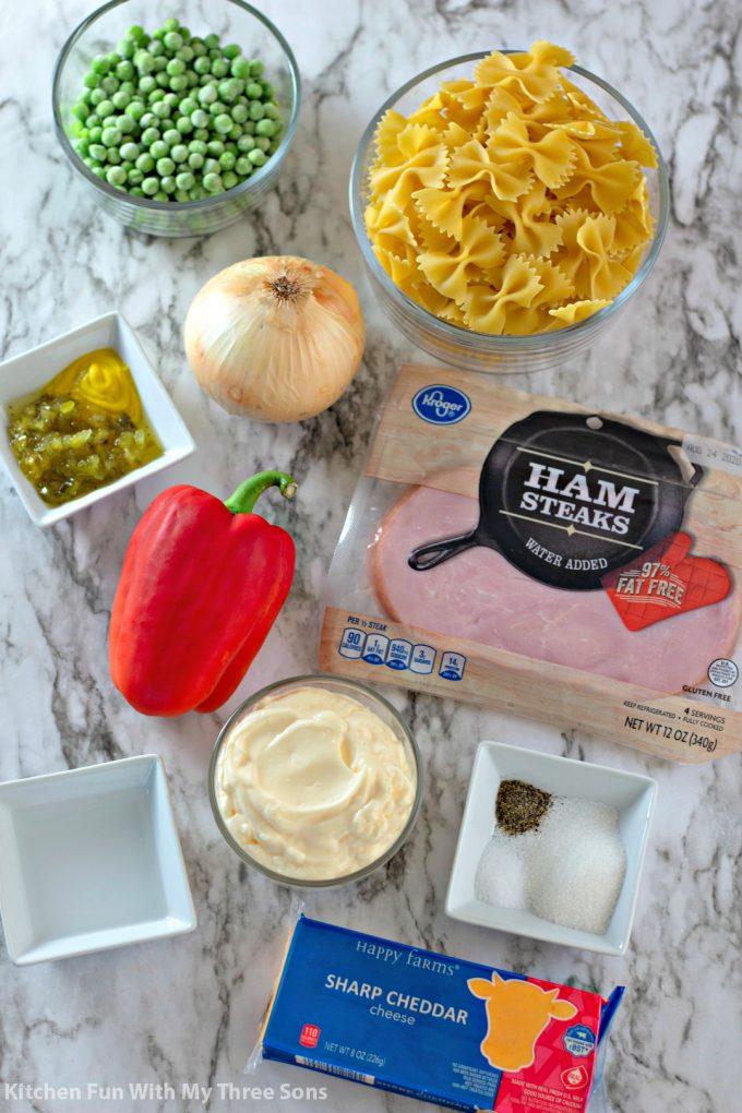 ingredients to make Bowtie Pasta Salad Recipe