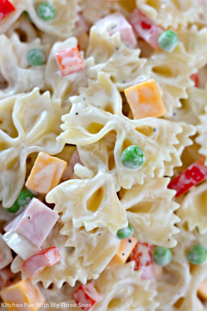 close up of the Bowtie Pasta Salad Recipe