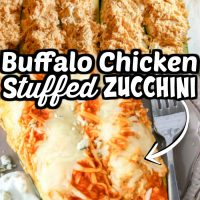 Buffalo Chicken Zucchini Boats is a delicious lunch or dinner packed with cream cheese, wing sauce and chicken all stuffed into zucchini.