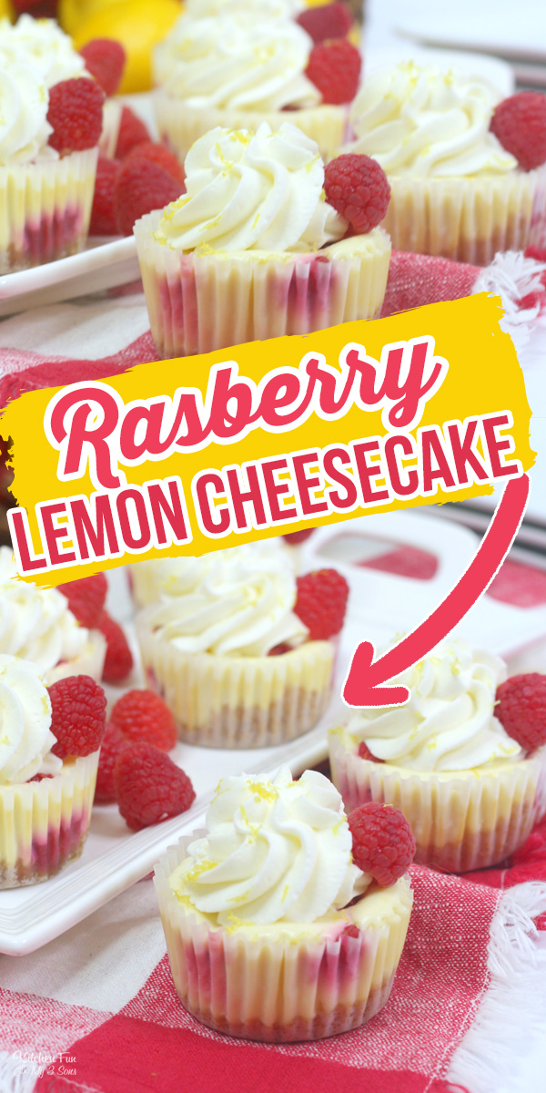 Lemon Raspberry Mini Cheesecake with fresh raspberries on a graham cracker crust is a delicious dessert with the perfect amount of sweetness.