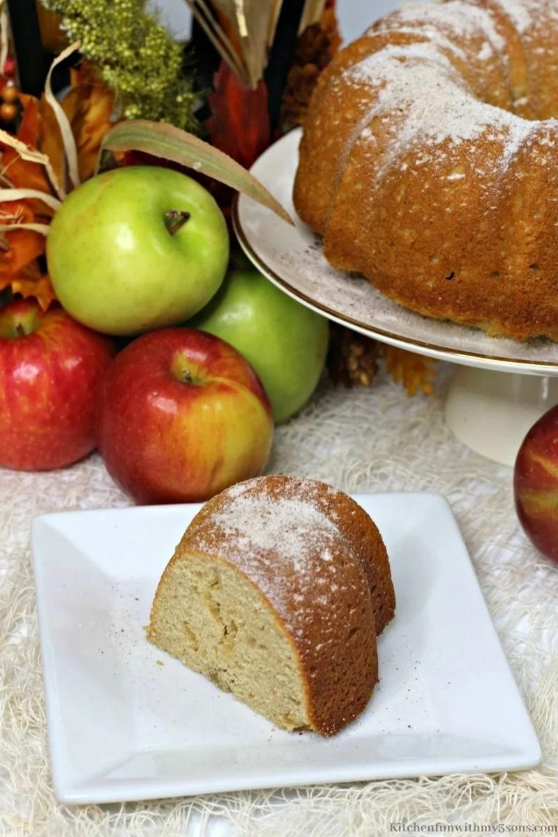 Apple Cider Doughnut Cake on a serving platter.