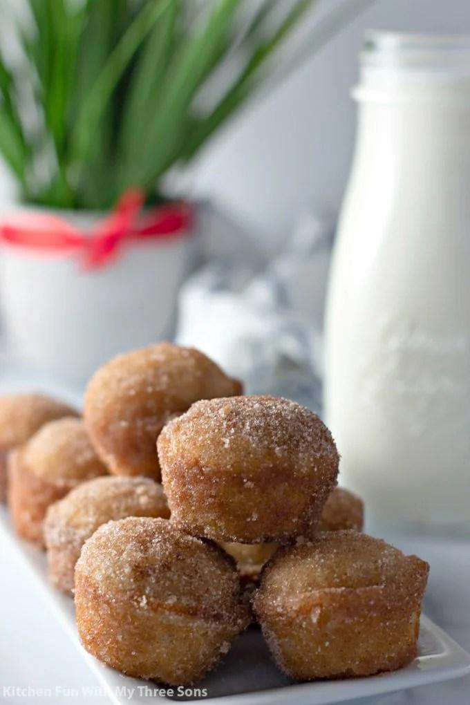 Mini Cinnamon Sugar Donut Muffins on a platter