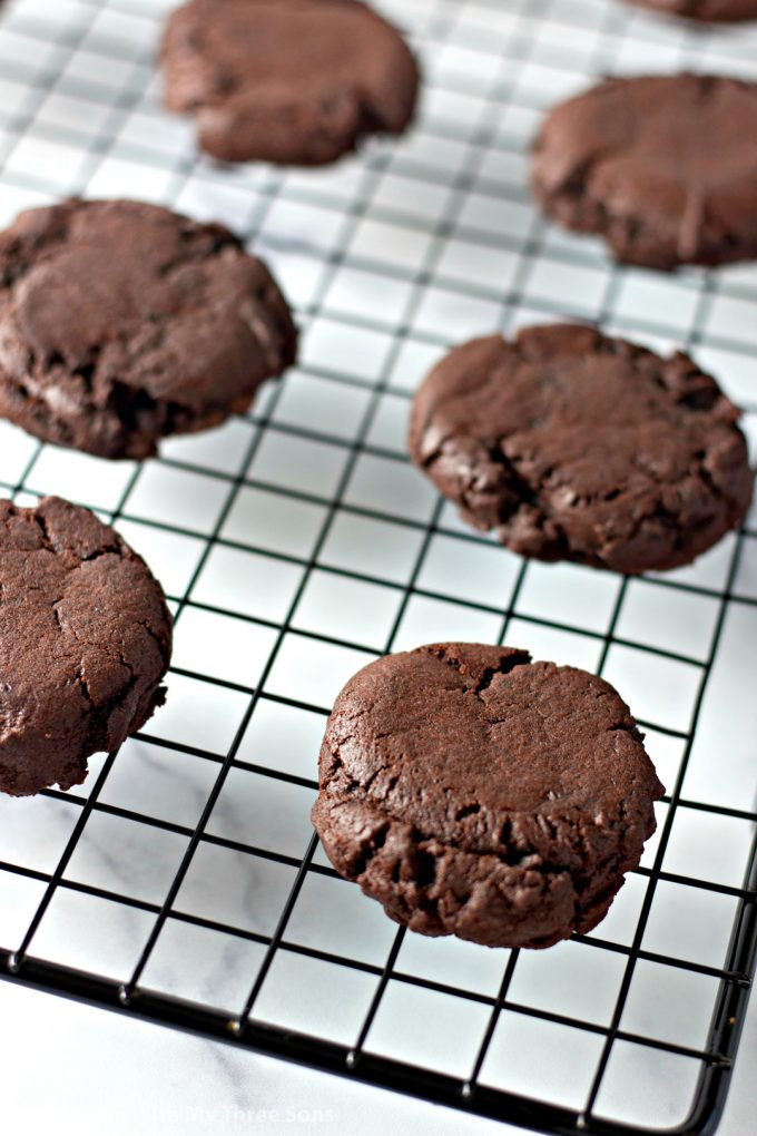 Dark Chocolate Cookies on a wire cooling rack