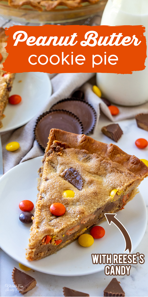 Reese's Peanut Butter Cookie Pie is every peanut butter lovers dream dessert. This delicious cross between a giant cookie and a pie is full of Reese's pieces and peanut butter cups.
