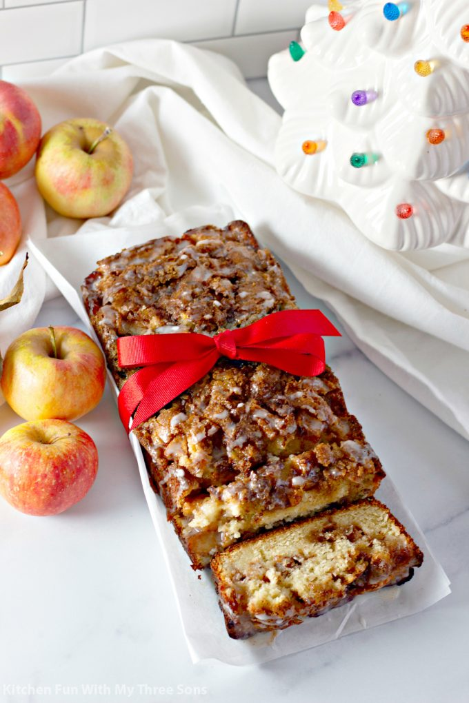 Amish Apple Fritter Bread with red ribbon