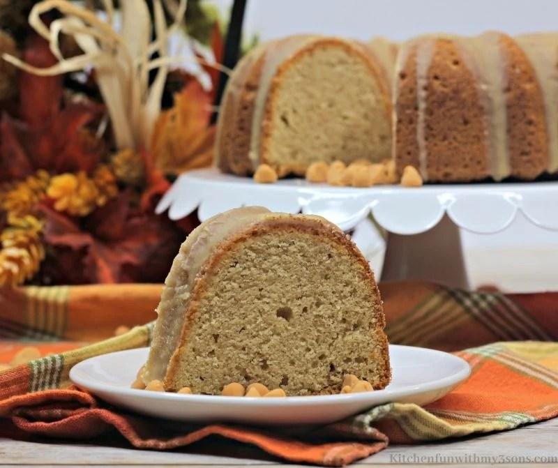 Butterscotch Pumpkin Bundt Cake slice on a serving plate.