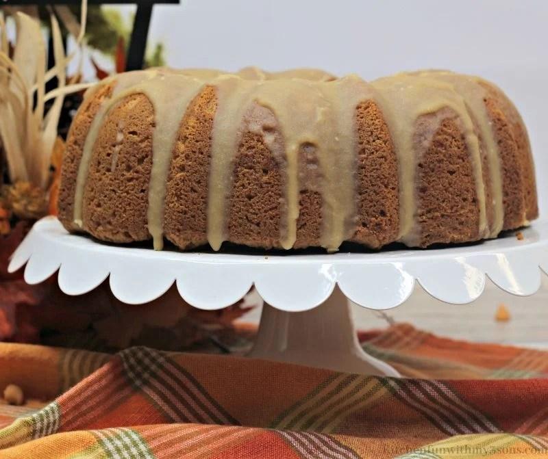The whole Butterscotch Pumpkin Bundt Cake on a serving platter.