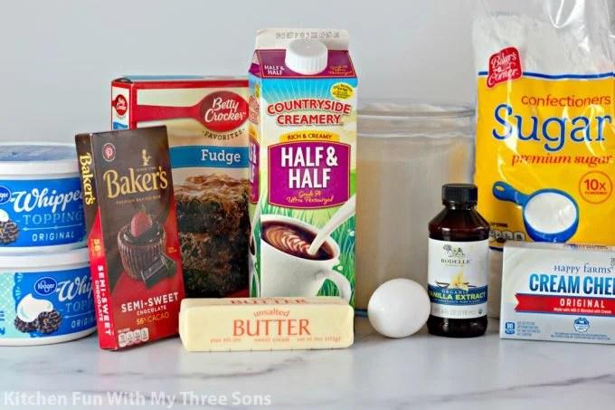 ingredients to make French Silk Pie Brownies