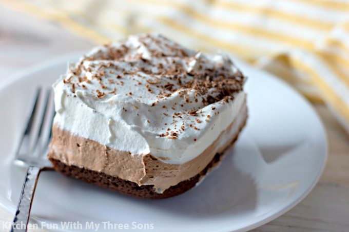 slice of French Silk Pie Brownies on a white plate
