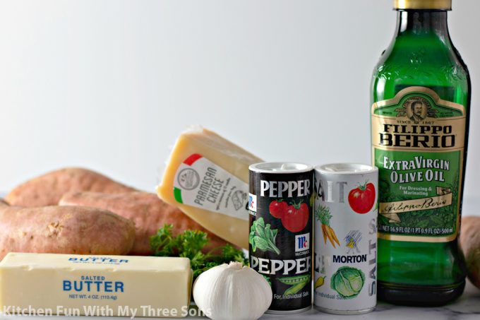 ingredients to make Garlic Butter Smashed Sweet Potatoes