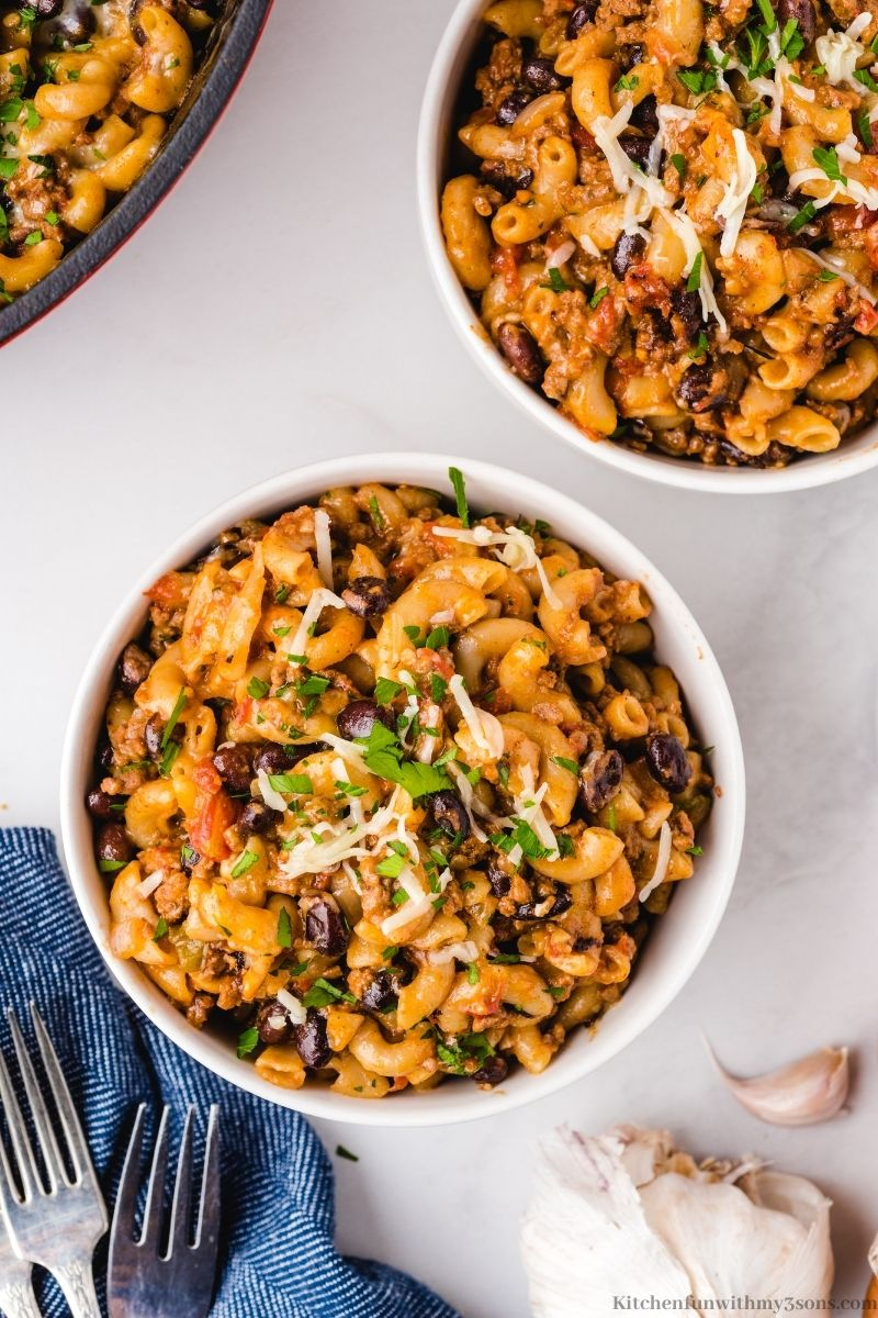 Homemade Chili Mac and Cheese Recipe in a serving bowl.