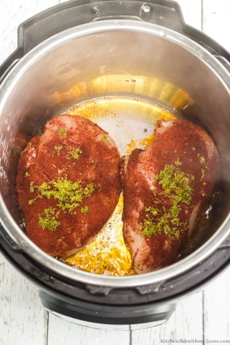 The dry rubbed chicken in the Instant Pot.