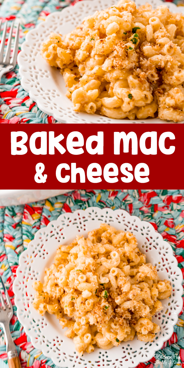 Baked Mac and Cheese is so good. With it's gooey cheese sauce and the crunch of the breadcrumb topping, it's a fan favorite.