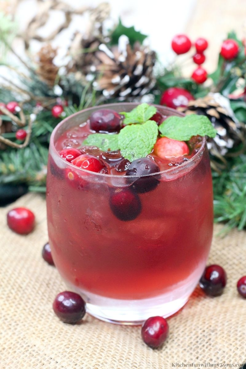 Cranberry Spritzer with pine branches and pine cones behind it.