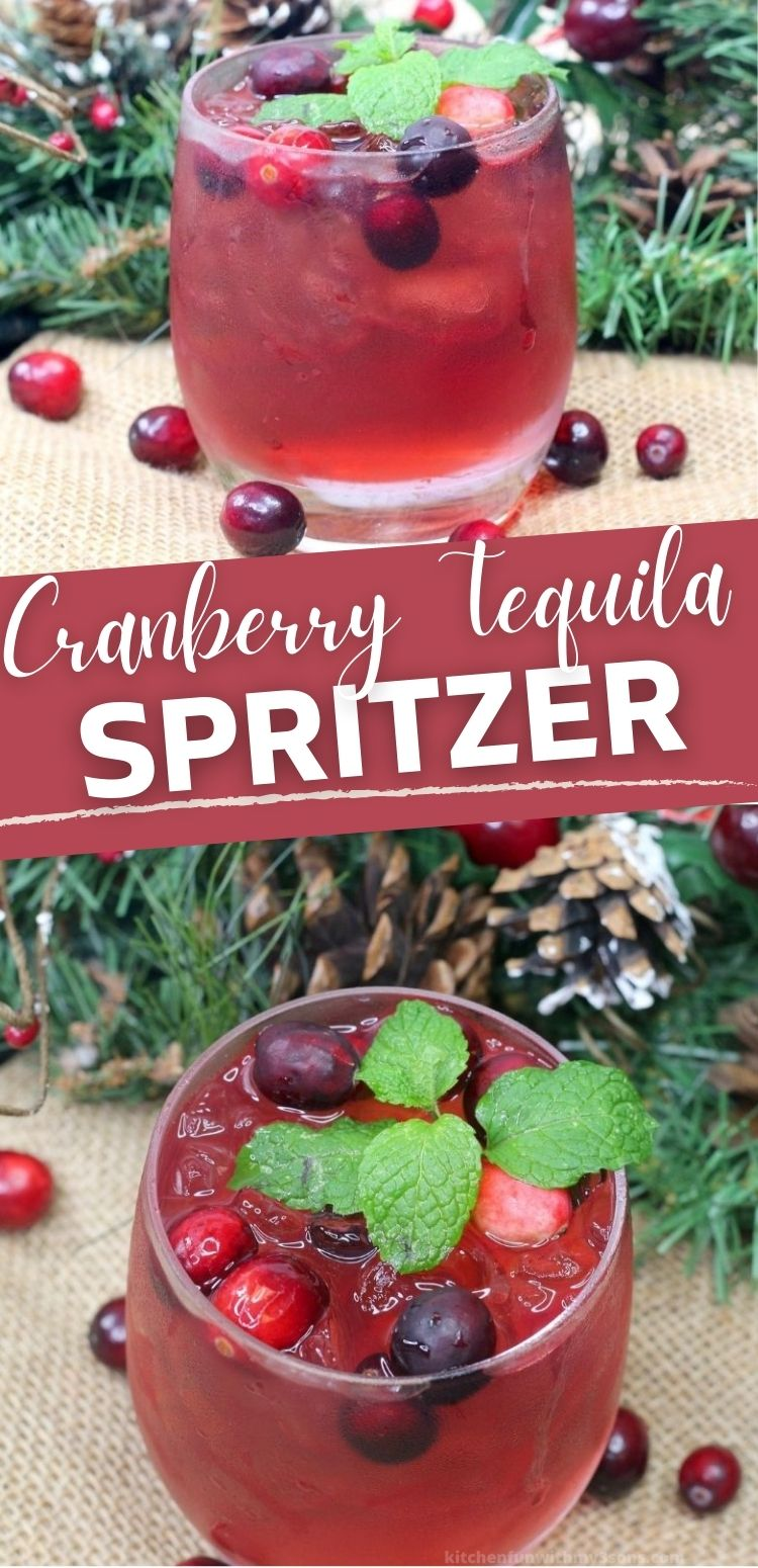 Cranberry Tequila Spritzer in a glass topped with cranberries and a mint sprig