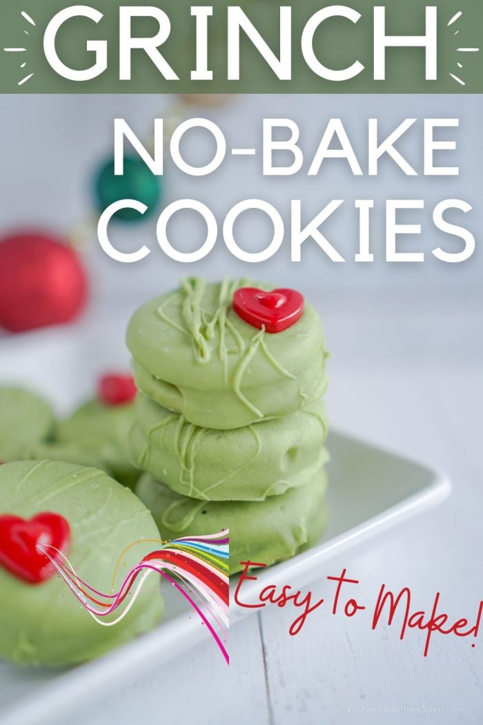 pinterest image for grinch no bake cookies