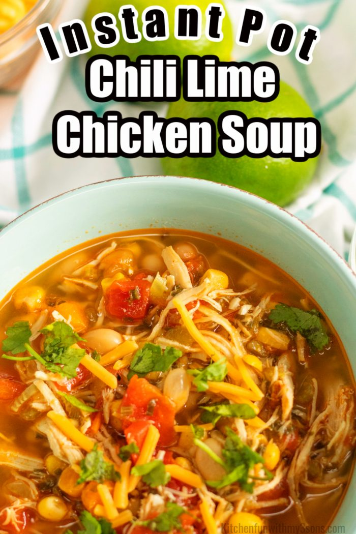 pinterest image for chili lime chicken soup