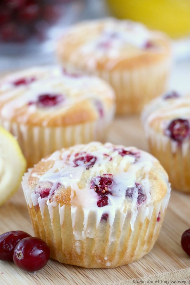 Lemon Cranberry Muffins with grapes on the side.