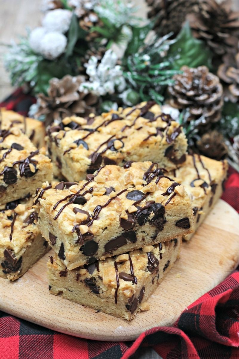 Toffee Cookie Bars with a flannel cloth underneath.