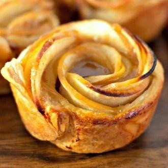 Caramel Apple Rose Tart Bites