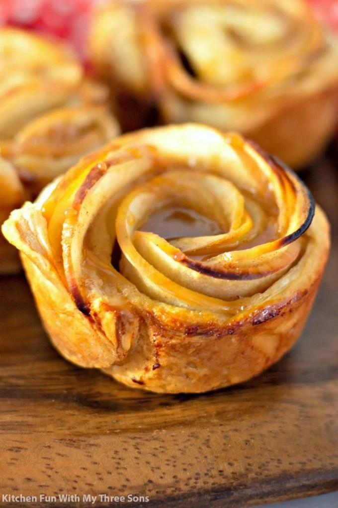 closeup of a Caramel Apple Rose Tart