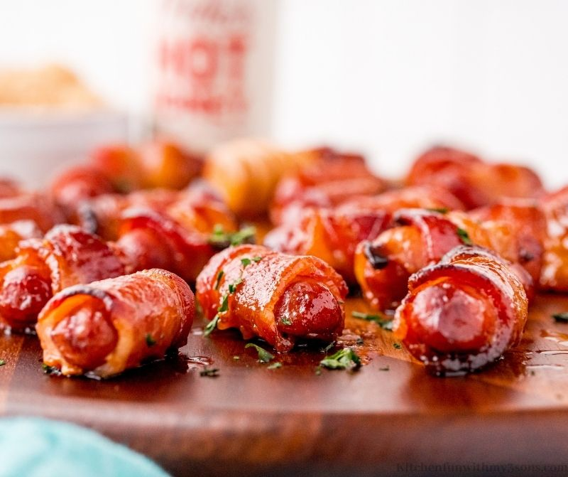 A close up of the Bacon-Wrapped Smokies Recipe.