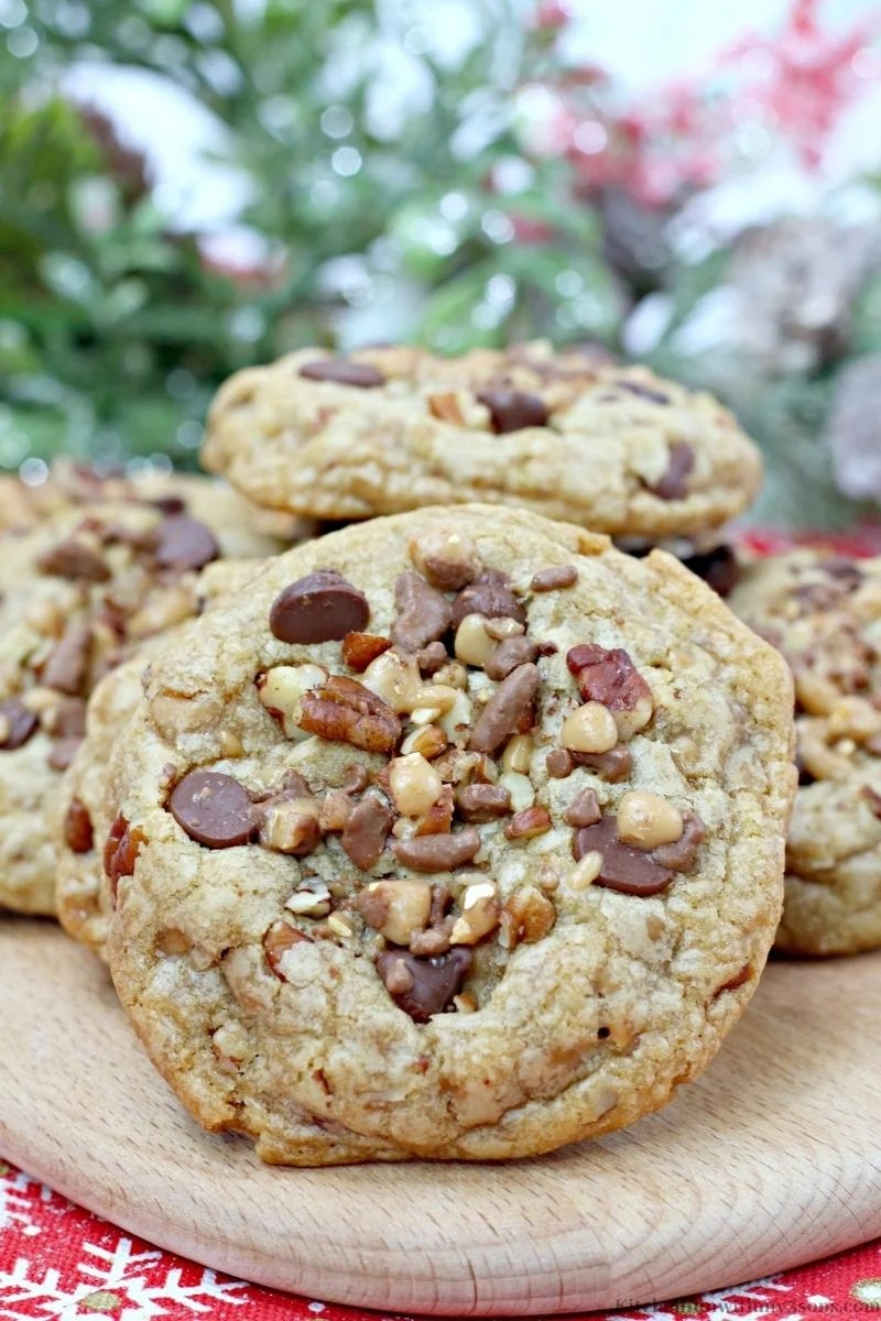 Up close image of one of the Chocolate Chip Pecan Toffee Cookies.