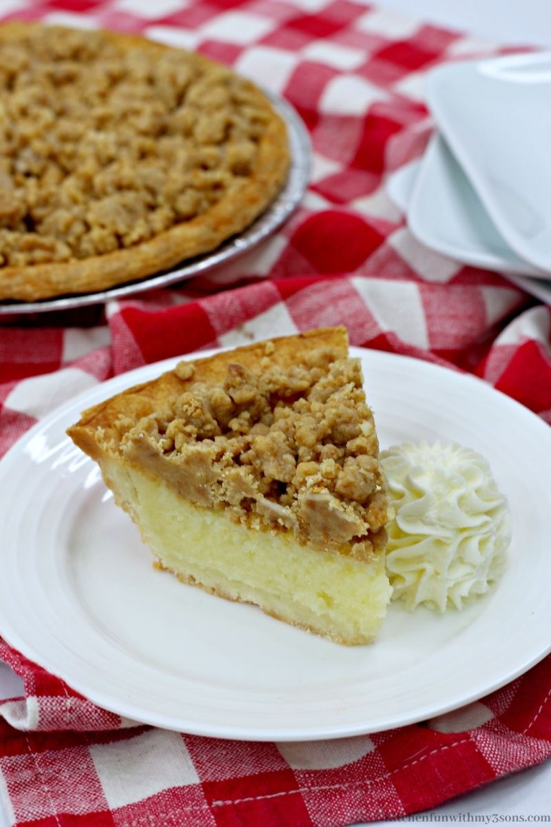 Crumble Eggnog Pie on a checkered cloth.
