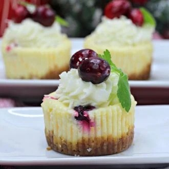 Mini White Chocolate Cranberry Cheesecake