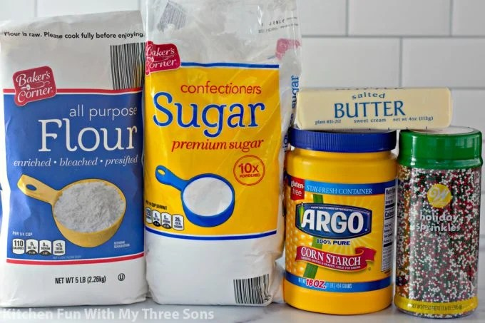 ingredients to make Whipped Shortbread Cookies