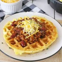 Cheesy Cornbread Waffles with Chili