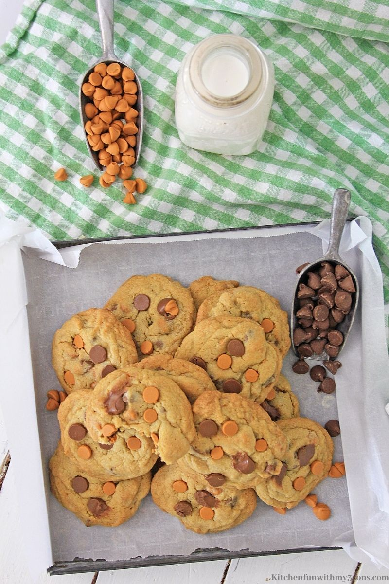 Chocolate Chip Butterscotch Cookies with extra butterscotch and chocolate chips.