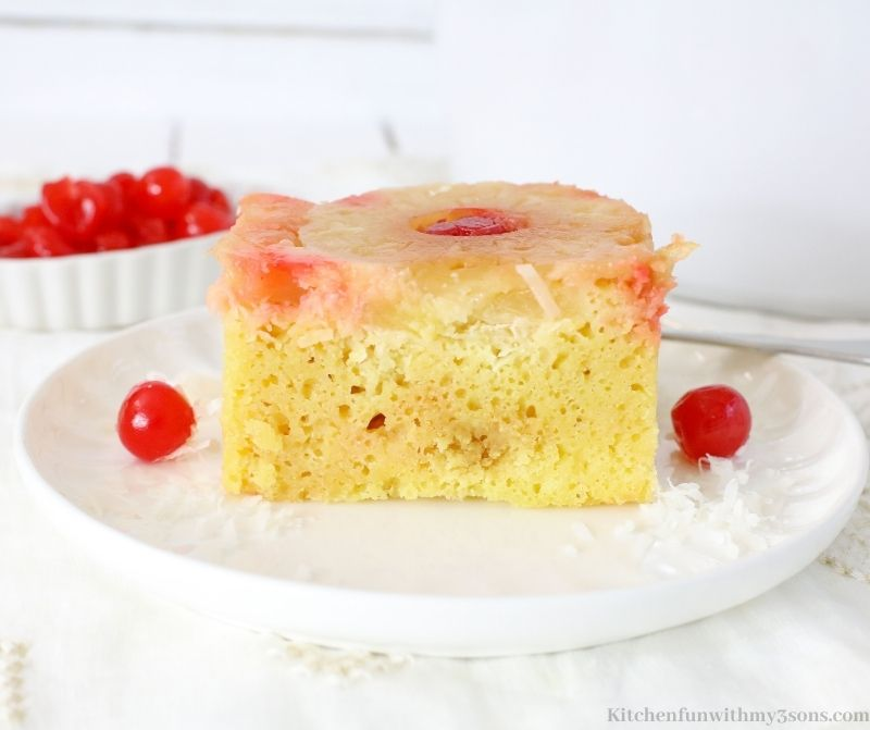 Crock-Pot Pineapple Upside Down Cake on a serving plate.