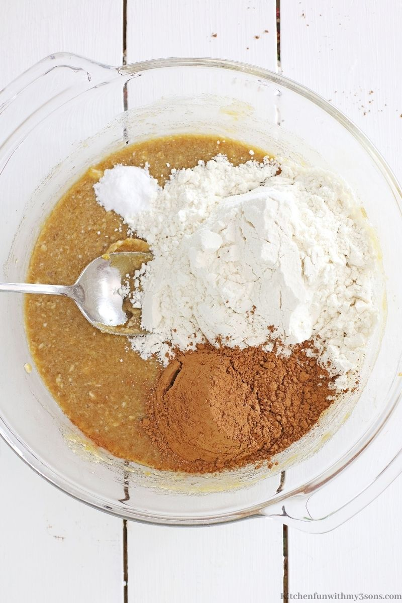 The dry ingredients mixed in with the wet.