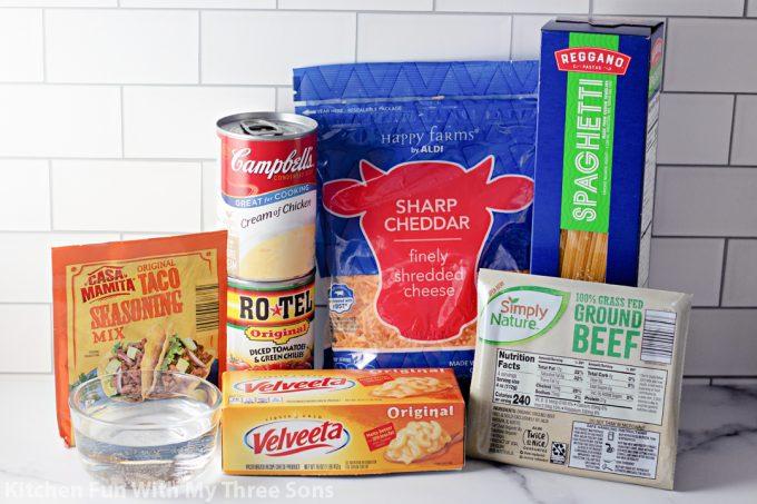 ingredients to make Cheesy Taco Spaghetti