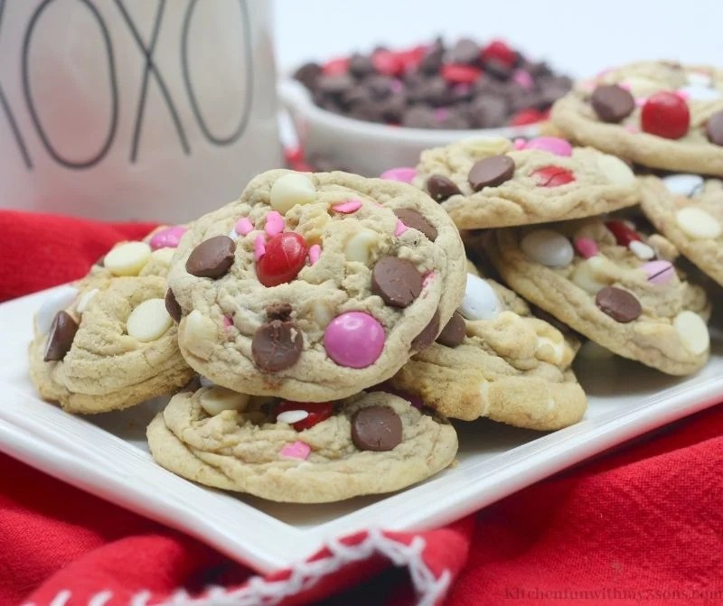 Valentine's Day Chocolate Chip Cookies on a white serving platter.