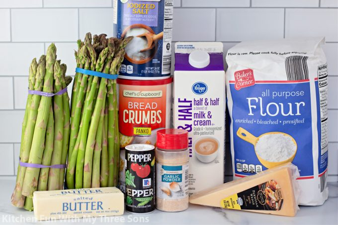 ingredients to make Baked Asparagus Casserole.