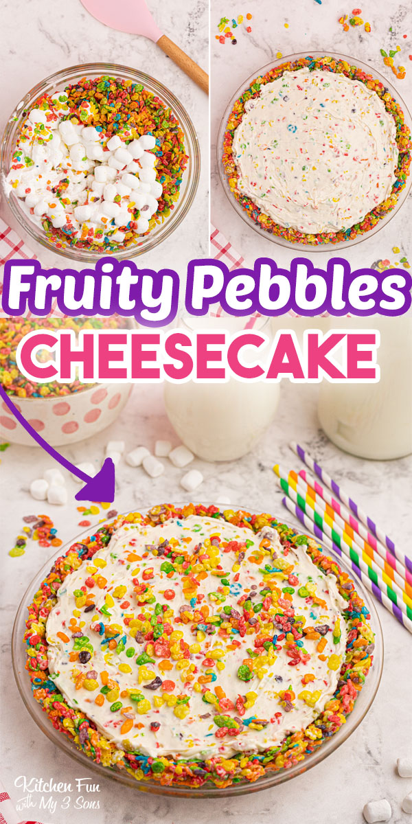 Fruity Pebbles Cheesecake is a no-bake dessert made with loads of Fruity Pebbles cereal.