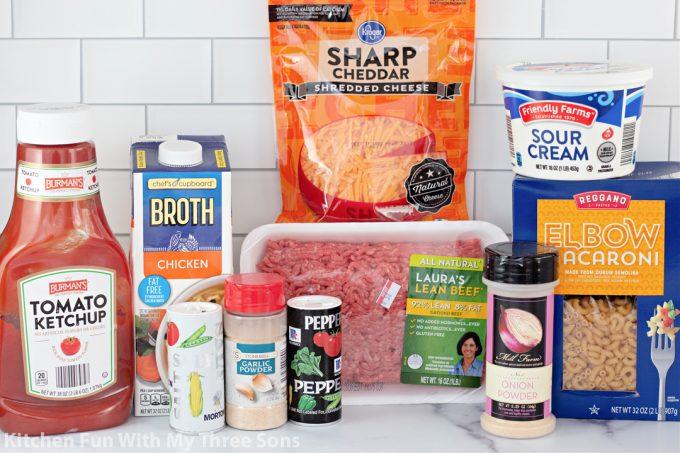 ingredients to make Homemade Hamburger Helper.