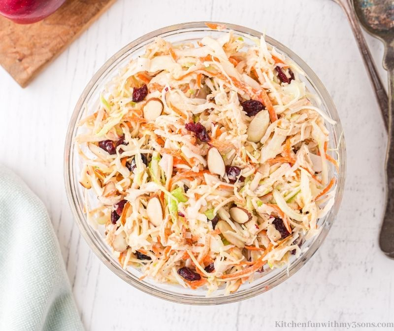 The Apple Slaw in a large serving bowl.