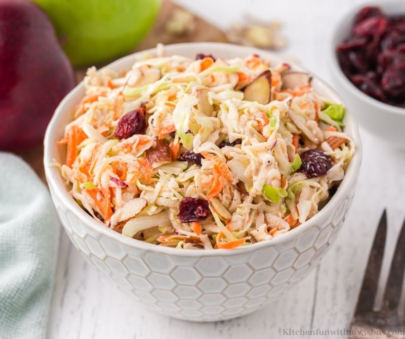 The Apple Slaw with extra apples and cranberries on the side.