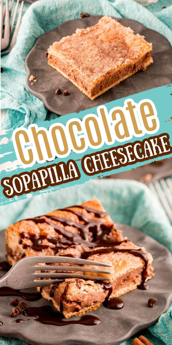 A square of Chocolate Sopapilla Cheesecake on a gray plate