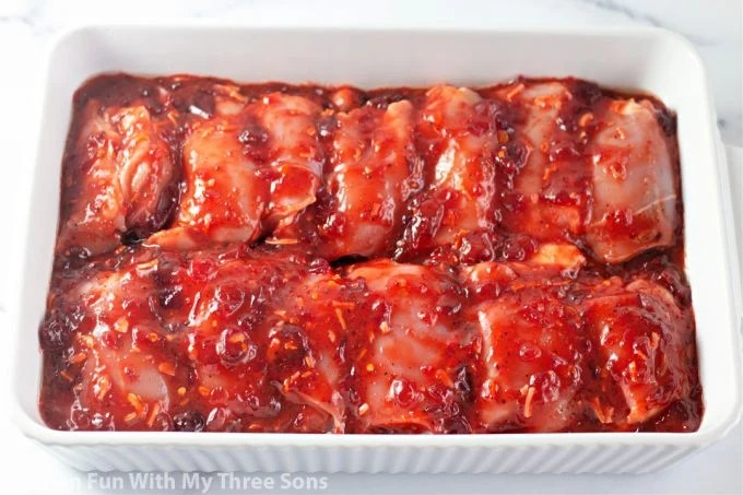 chicken thighs coated in cranberry Catalina sauce.